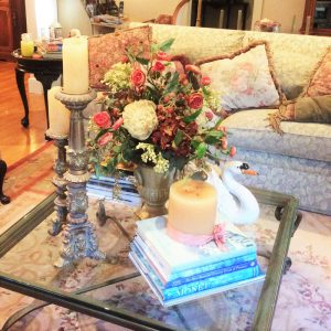 Flower centerpiece on a coffee table